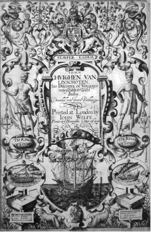 リンスホーテン『東方案内記』標題紙